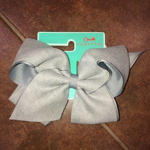 Copper Key Gray Hair Bow